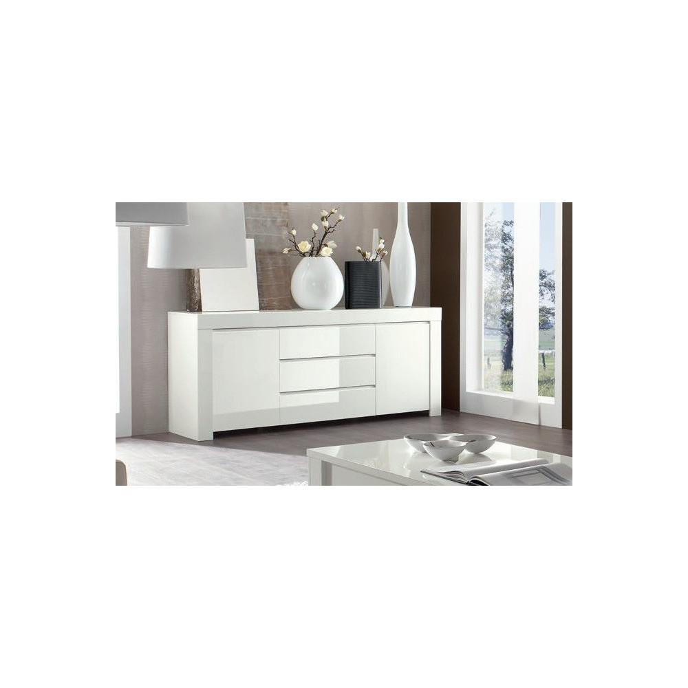 Buffet de salle a manger moderne bahut blanc en enfilade for Meuble blanc 2 portes 2 tiroirs