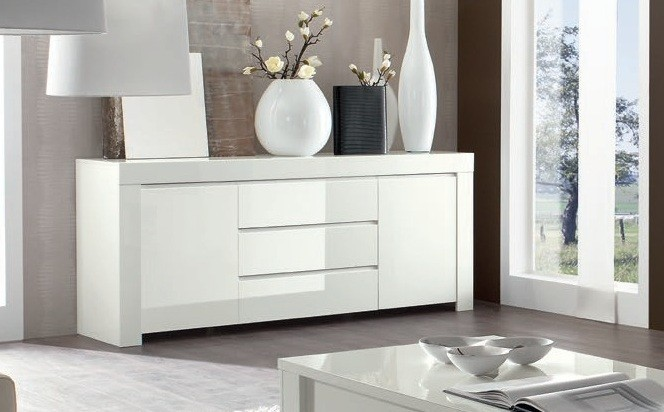buffet de salle a manger moderne bahut blanc en enfilade. Black Bedroom Furniture Sets. Home Design Ideas