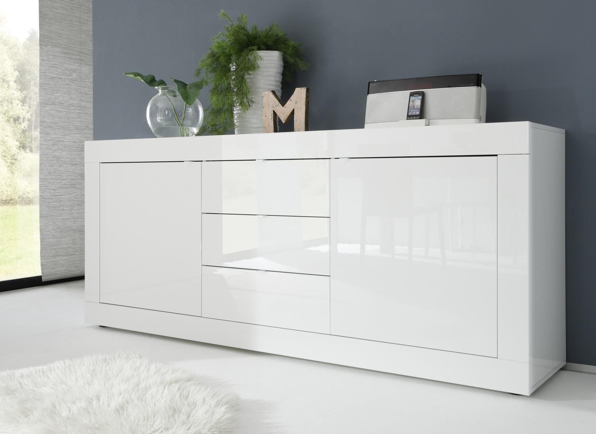 Buffet de salle a manger moderne bahut blanc en enfilade - Bahut blanc laque design ...