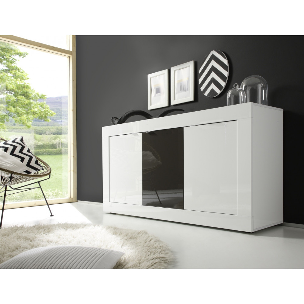 buffet de salle a manger moderne bahut blanc et anthracite. Black Bedroom Furniture Sets. Home Design Ideas