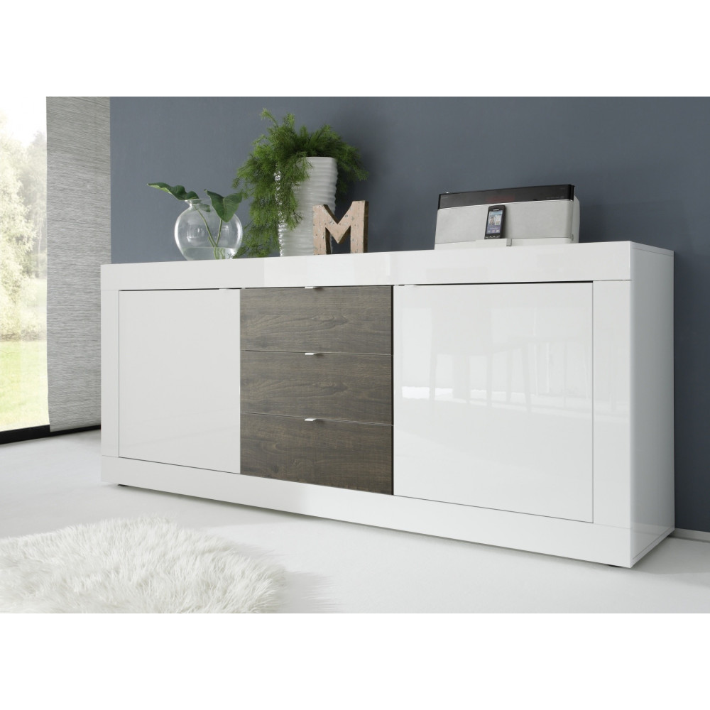 buffet de salle a manger moderne bahut blanc et chene gris. Black Bedroom Furniture Sets. Home Design Ideas