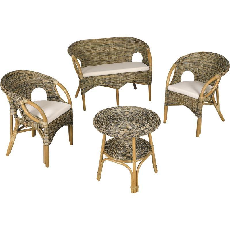 Salon de jardin en rotin comprenant une table un canap et deux fauteuils - Coussin pour salon en rotin ...