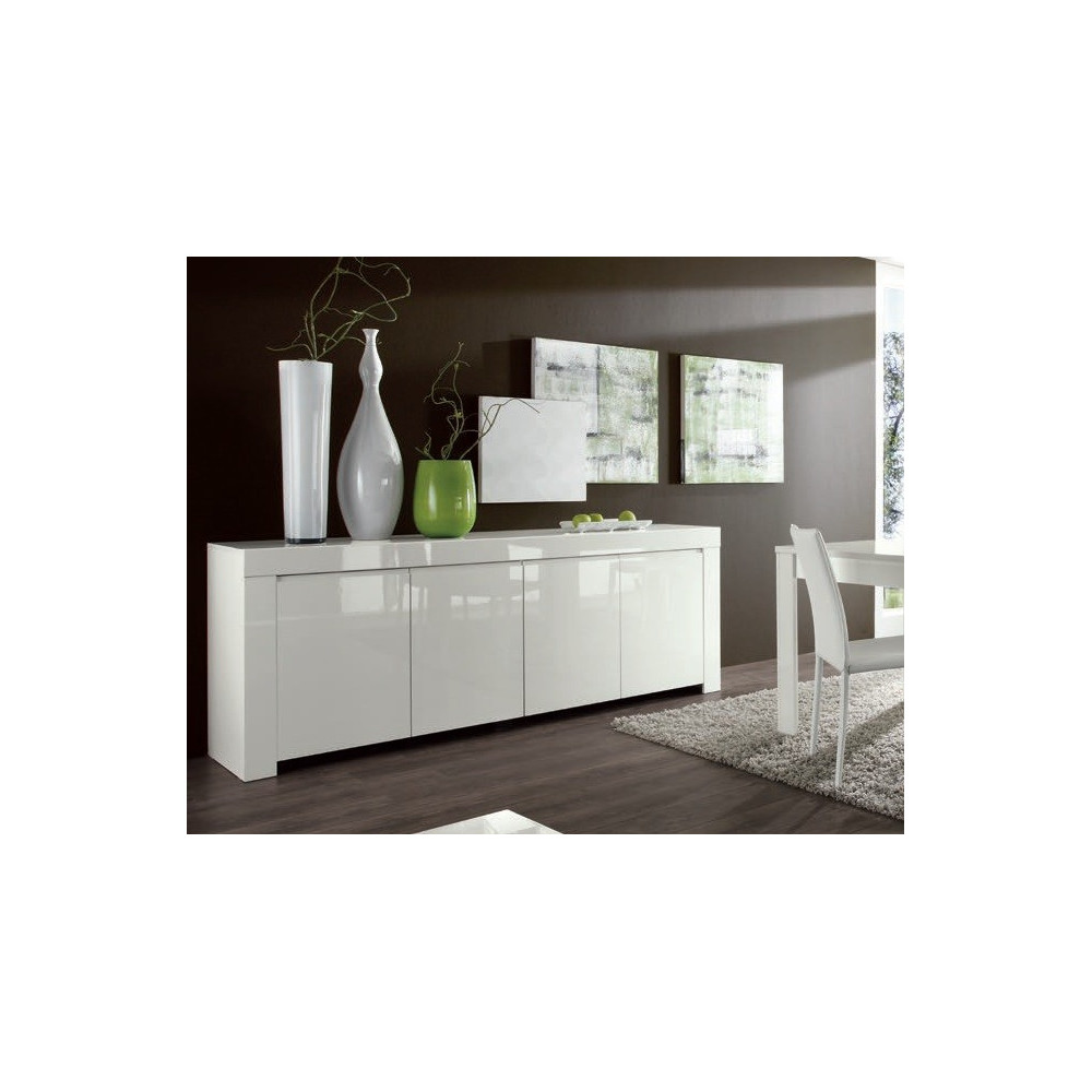 buffet de salle a manger moderne bahut blanc en enfilade 4 portes. Black Bedroom Furniture Sets. Home Design Ideas