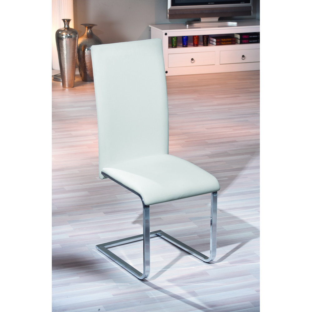 Chaise montana design blanche de cuisine ou salle manger for Chaise salle a manger blanche