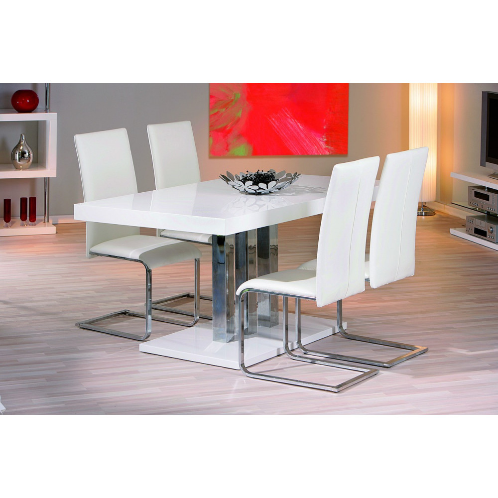 Table de salle a manger design blanche 160x90 for Table salle a manger hanna but