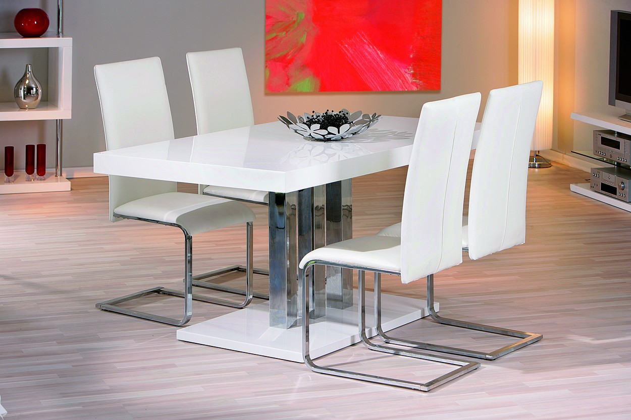 Table de salle a manger design blanche 160x90 for Solde table salle a manger