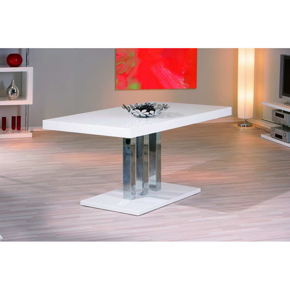 Table de salle a manger design blanche 160x90 for Table de salle a manger dimension