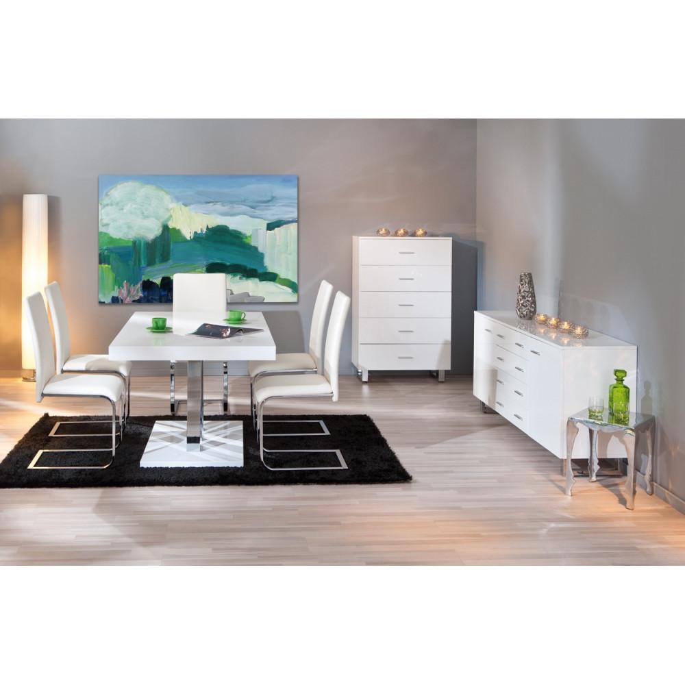 Table de salle a manger design blanche 160x90 for Salle a manger blanche moderne