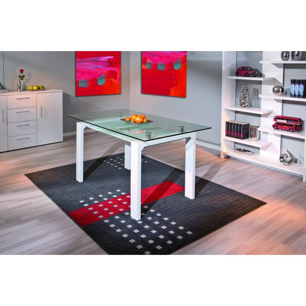 Table de salle a manger balu blanche 150x80 plateau en verre for Table blanche salle a manger