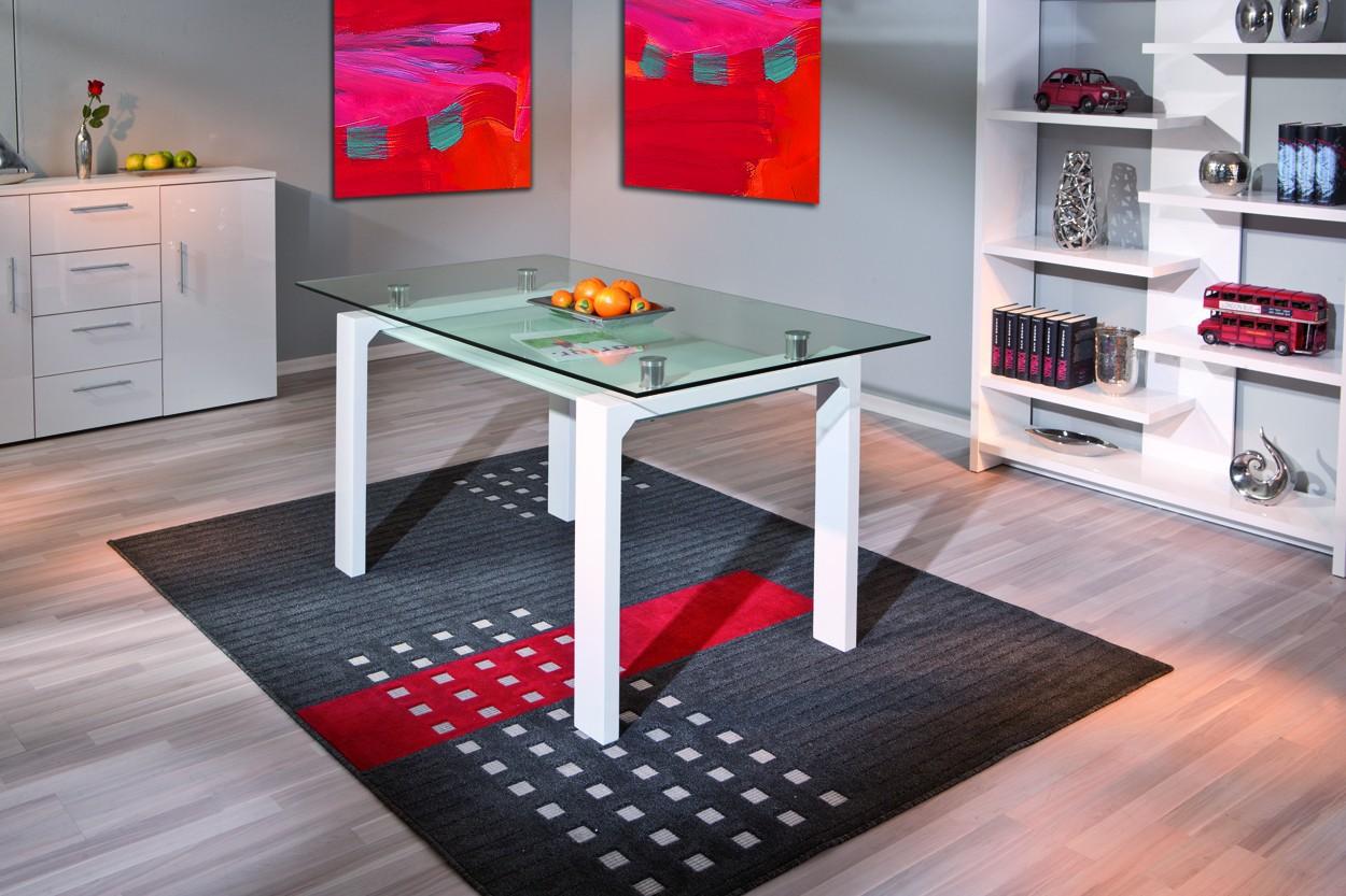 Table de salle a manger balu blanche 150x80 plateau en verre for Table de salle a manger blanche