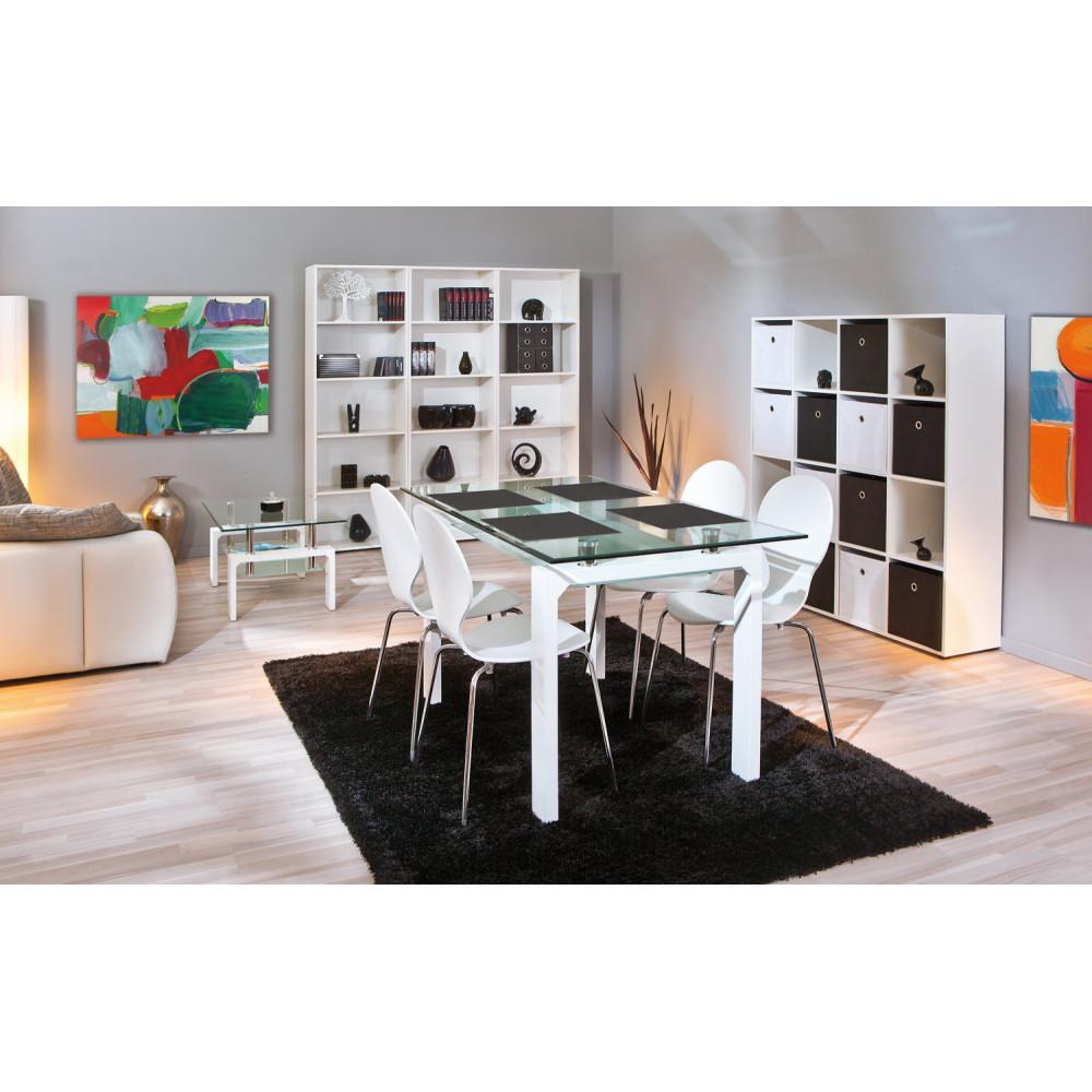 Table de salle a manger balu blanche 150x80 plateau en verre for Salle a manger blanche