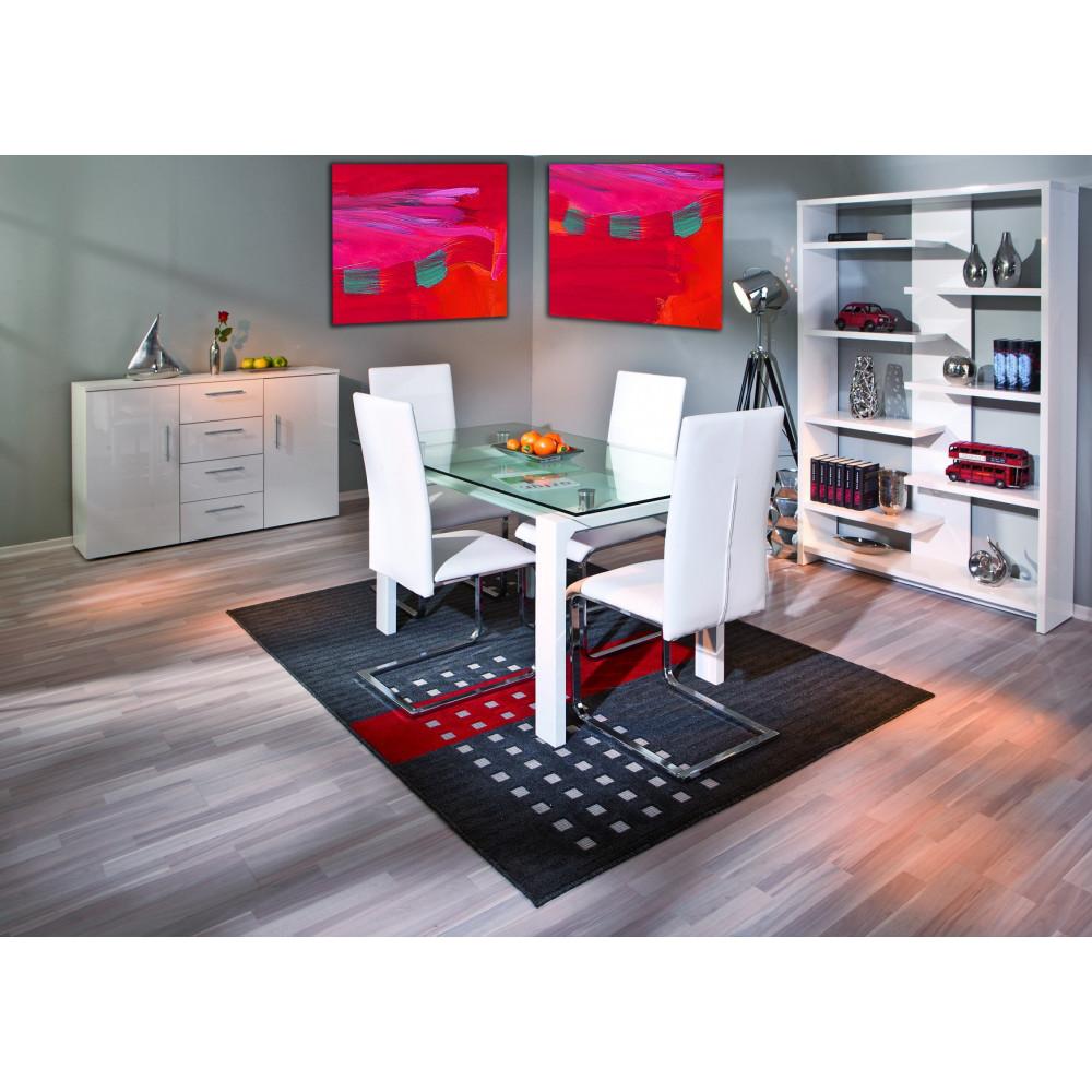 Table de salle a manger balu blanche 150x80 plateau en verre for Salle a manger blanche moderne