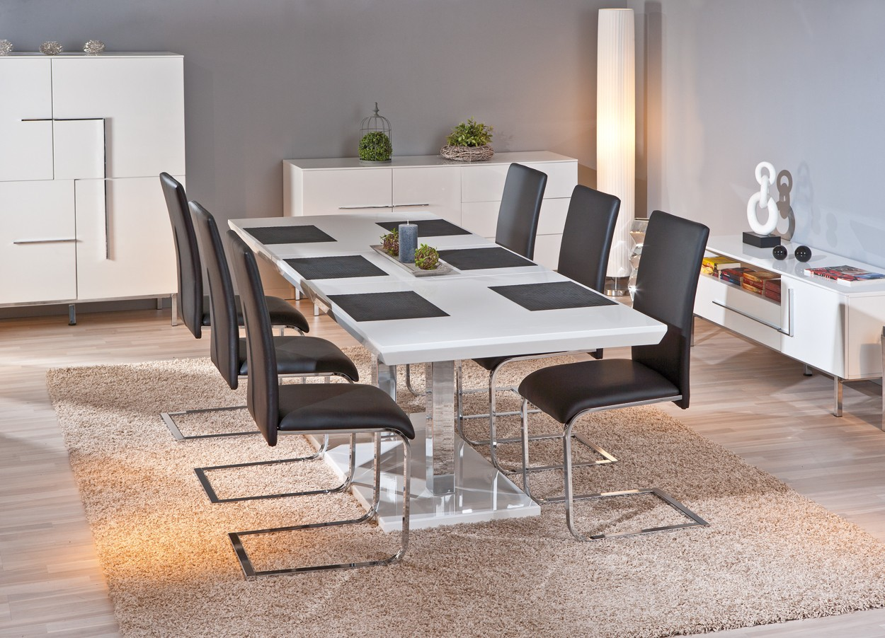 table de salle a manger edmonton blanche avec rallonges 160 200x90. Black Bedroom Furniture Sets. Home Design Ideas