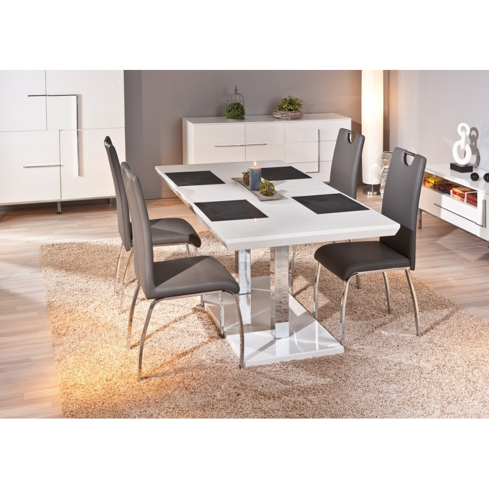 table de salle a manger edmonton blanche avec rallonges. Black Bedroom Furniture Sets. Home Design Ideas