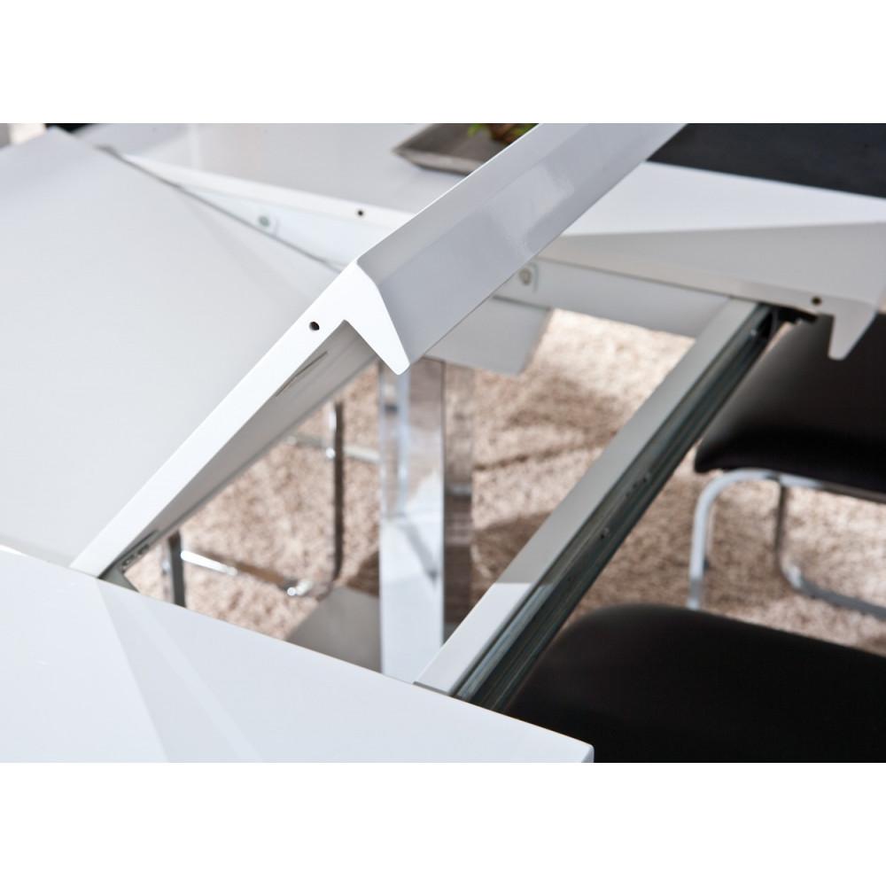 table de salle a manger edmonton blanche avec rallonges 160 200x90. Black Bedroom Furniture Sets. Home Design Ideas