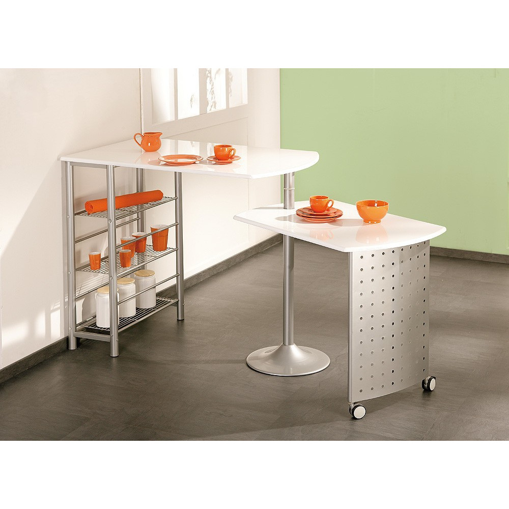 Ensemble de cuisine table bar et chaises hautes filamento for Table de cuisine escamotable
