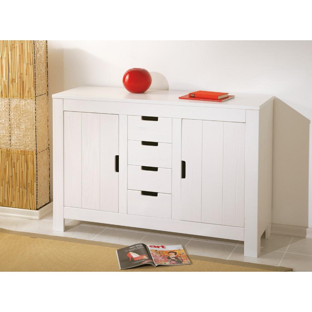 bahut bas bertram 2 portes et 4 tiroirs blanc. Black Bedroom Furniture Sets. Home Design Ideas