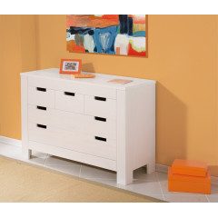 Commode 5 tiroirs pin massif blanc