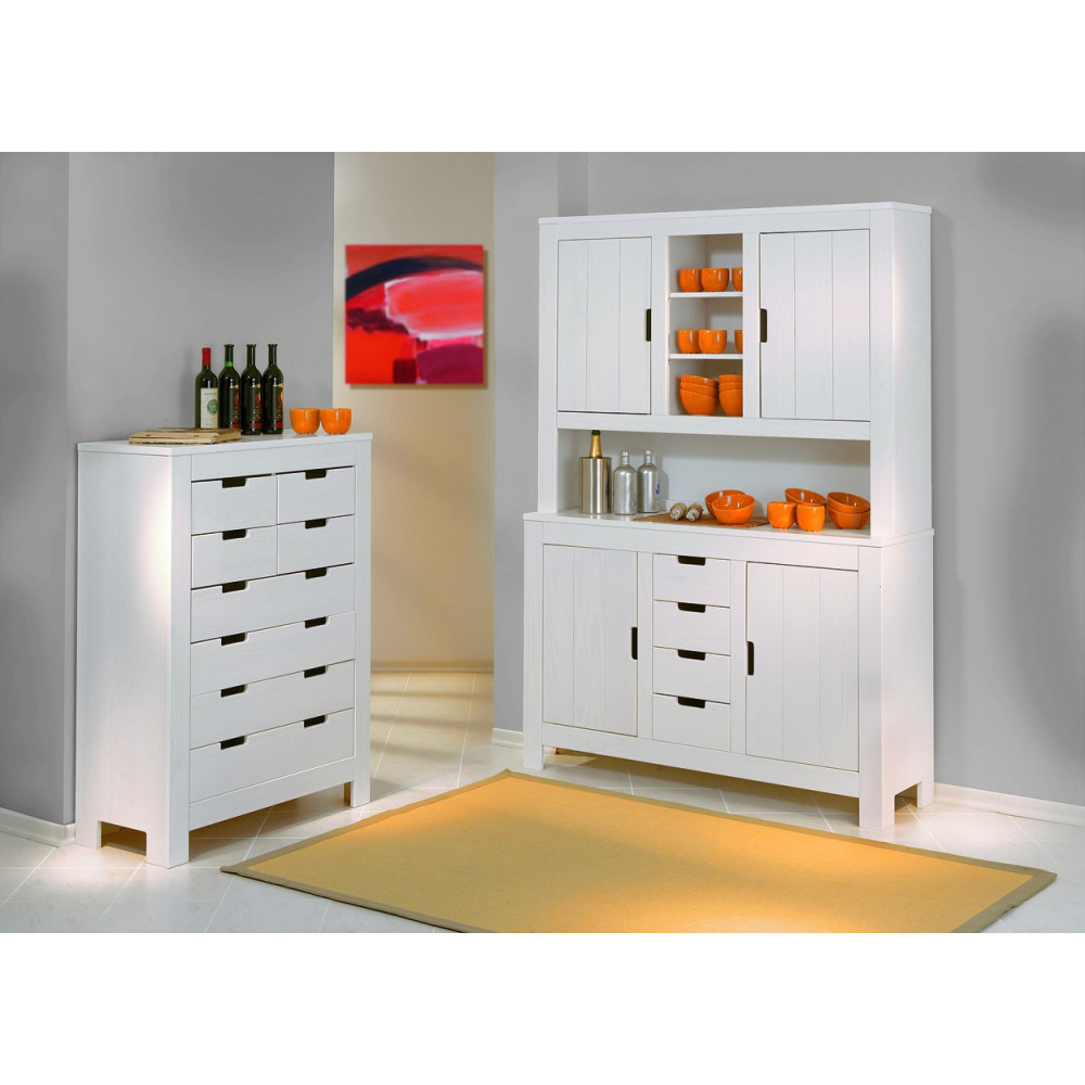 bahut bas ben 8 tiroirs blanc. Black Bedroom Furniture Sets. Home Design Ideas