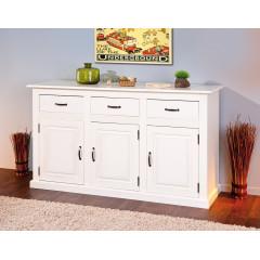 Bahut bas Vassala  3 portes 3 tiroirs blanc