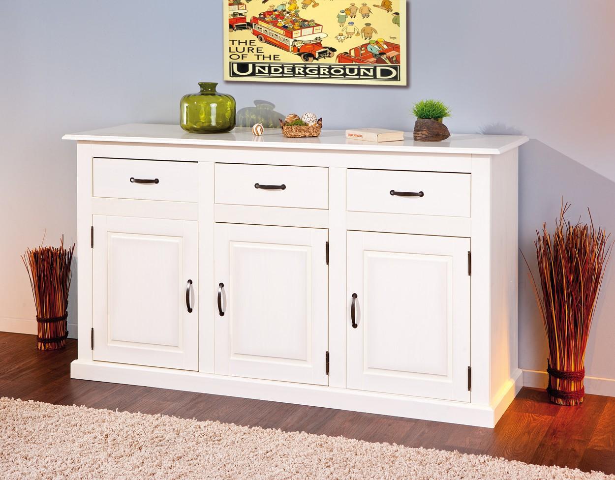 Bahut bas cassala 3 portes 3 tiroir blanc for Meuble bas 3 portes