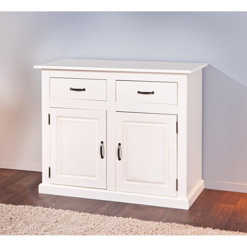 bahut bas cassala 2 portes 2 tiroirs blanc. Black Bedroom Furniture Sets. Home Design Ideas