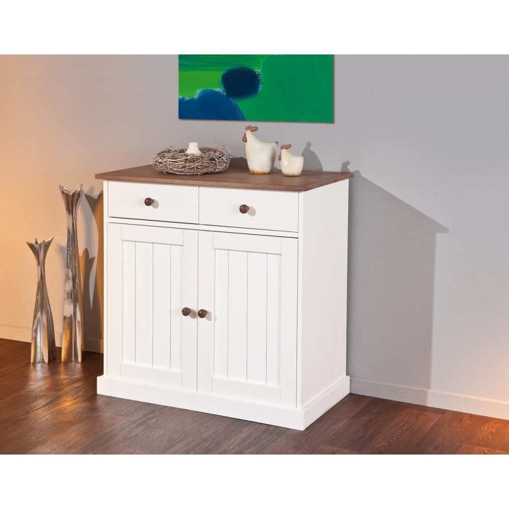 bahut bas cassala 2 portes 2 tiroirs blanc plateau brun sepia. Black Bedroom Furniture Sets. Home Design Ideas