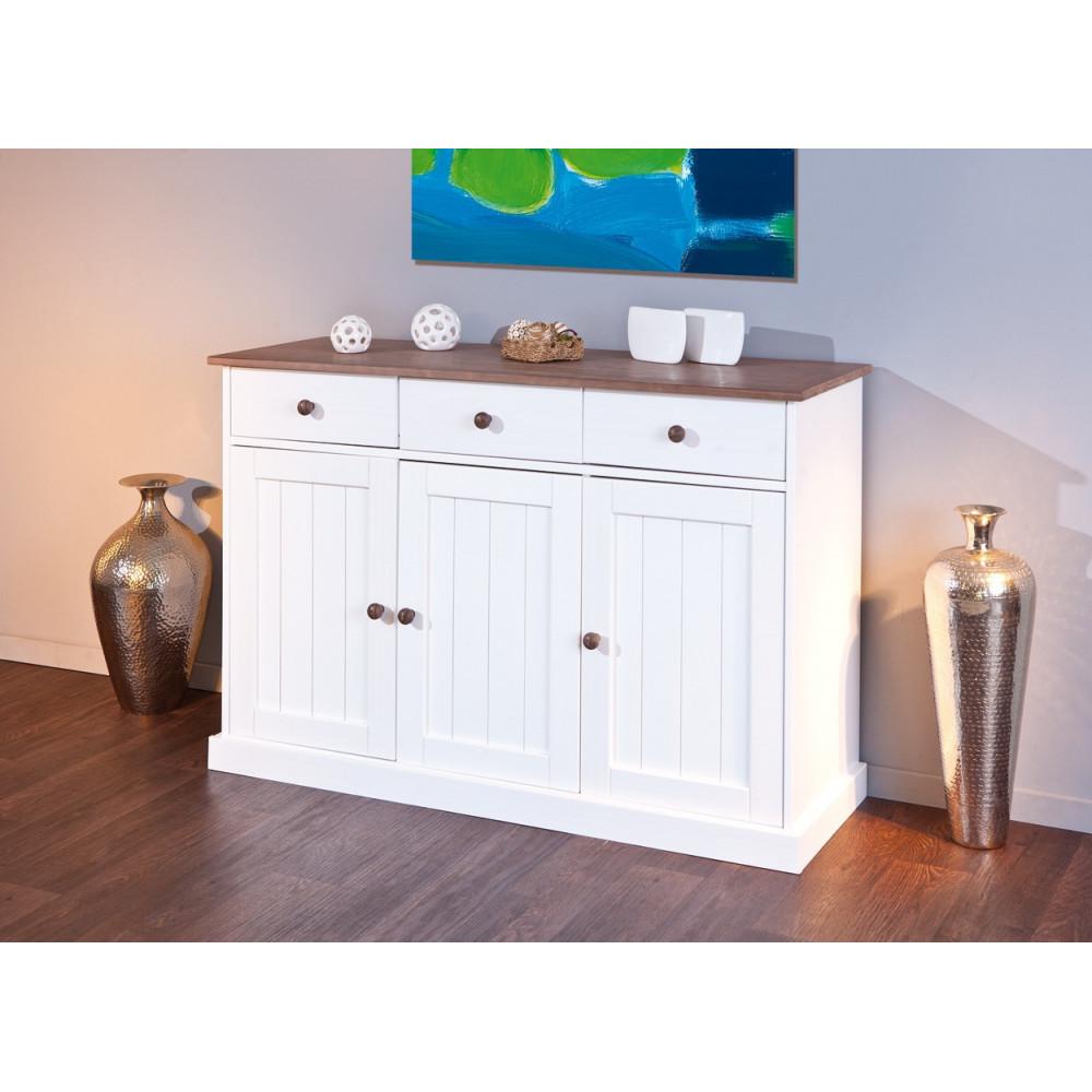 bahut bas westerland 3 portes 3 tiroirs blanc dessus brun. Black Bedroom Furniture Sets. Home Design Ideas