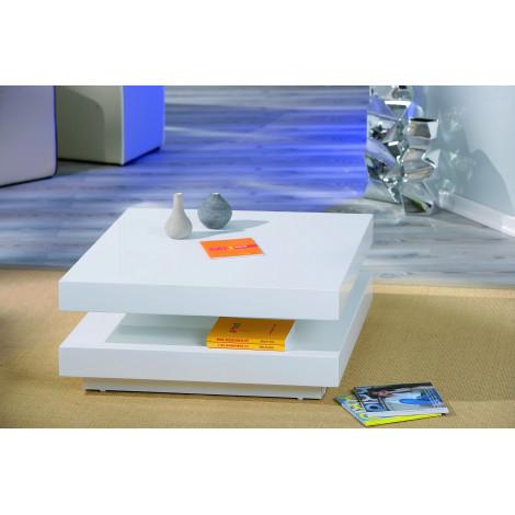 Table basse design de salon DUOMO Blanche pivotante