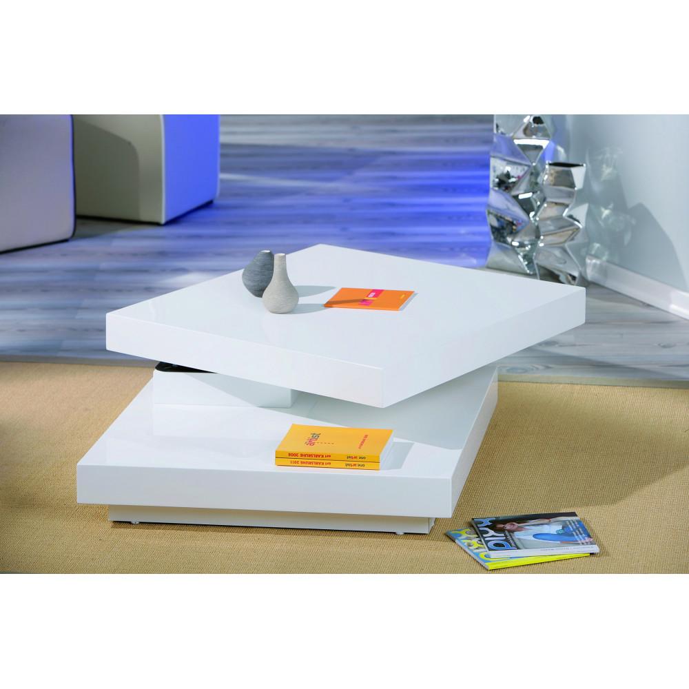 Table basse design de salon duomo blanche pivotante - Domo meuble ...
