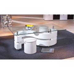 Table basse design de salon SAPHIRA Blanche.