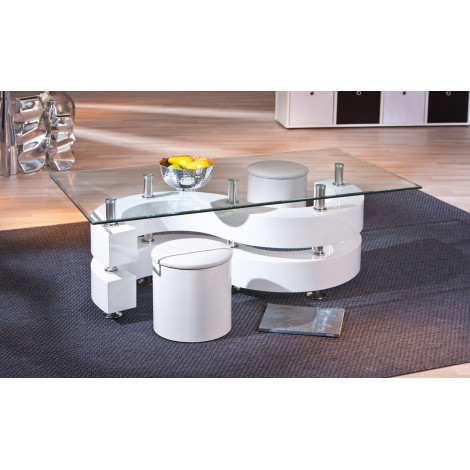 Table basse design de salon SAPHIRA Blanche.