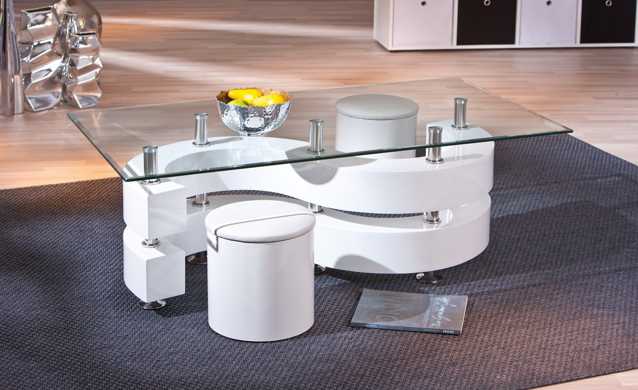 Table basse design de salon saphira blanche - Tables basses de salon design ...