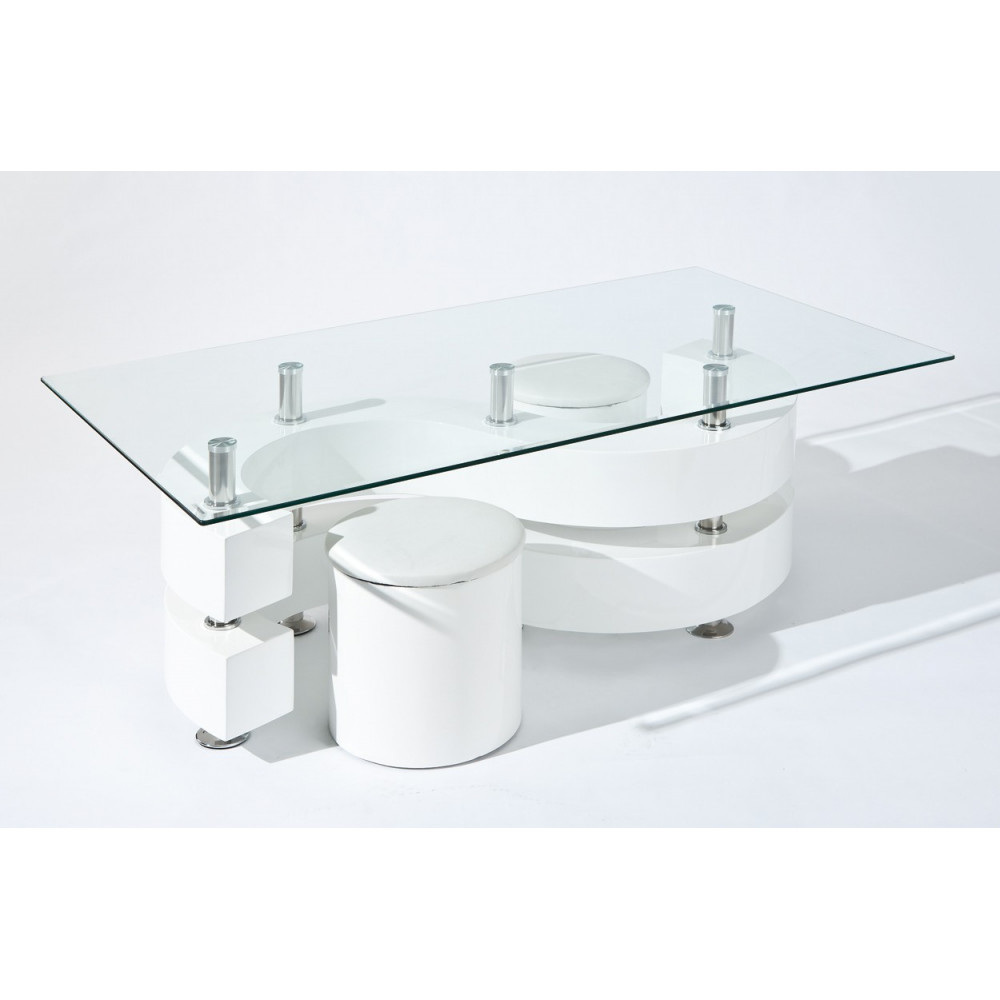 Table basse design de salon saphira blanche - Table basse gigogne blanche ...