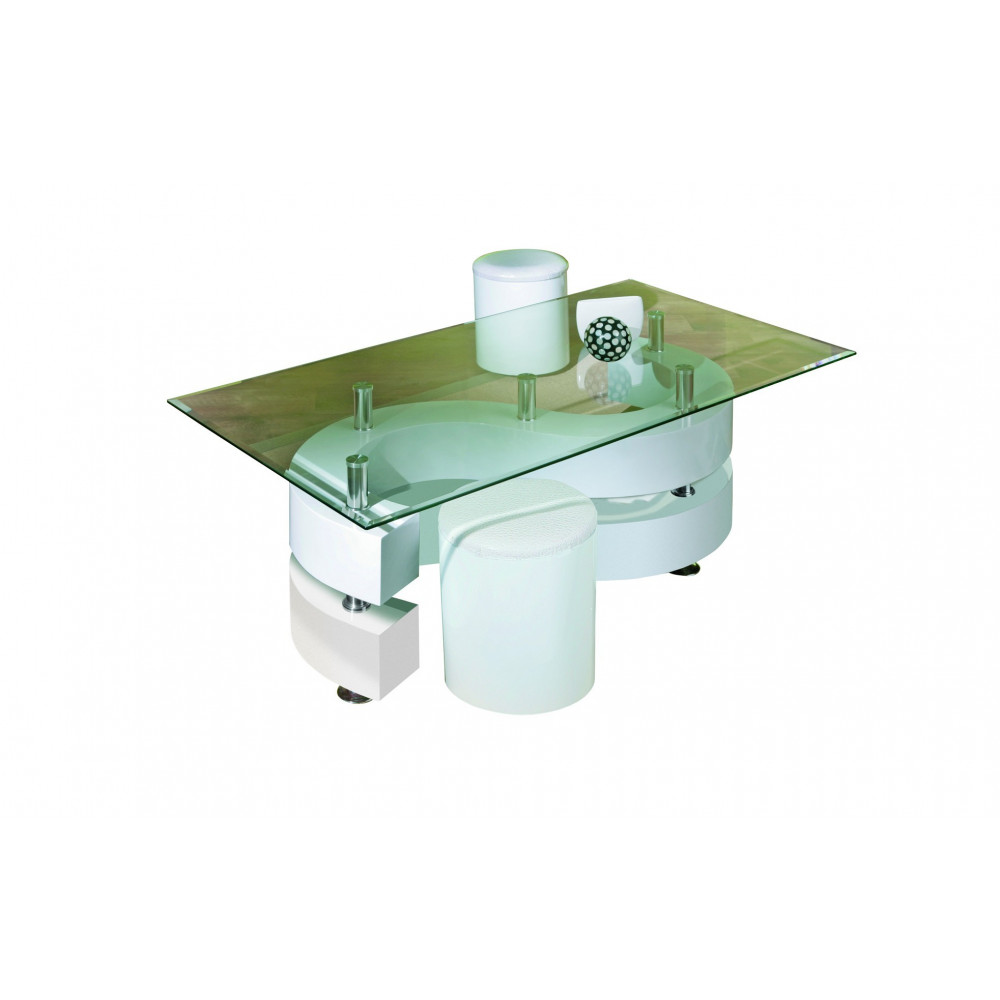Table basse design de salon saphira blanche for Table design blanche