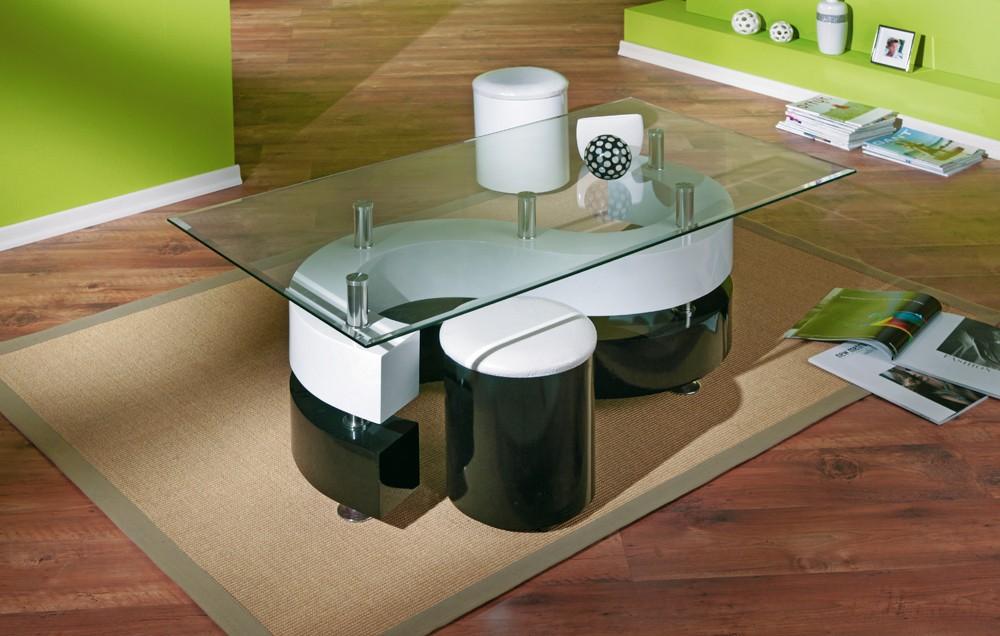 Table basse design de salon saphira blanche et noire for Table de salon transparente