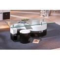 Table basse design de salon SERENA Blanche et Noire.
