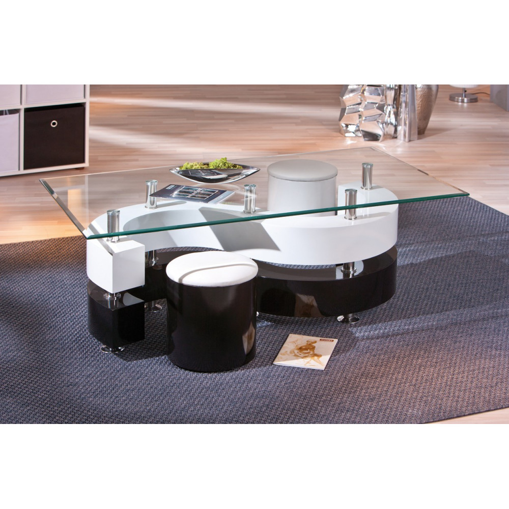 Table basse design de salon saphira blanche et noire - Table basse salon noir ...