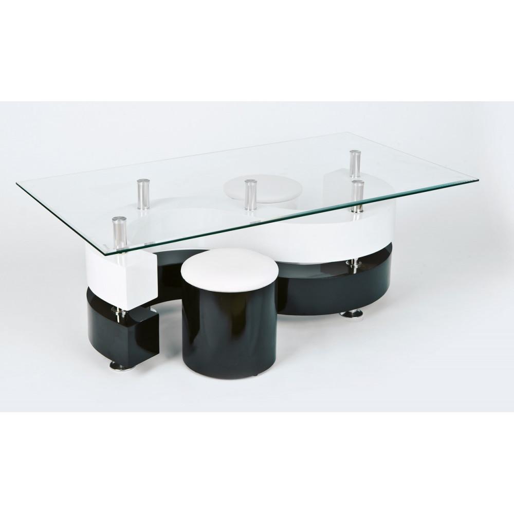 Table basse design de salon saphira blanche et noire - Table basse blanche et noir ...