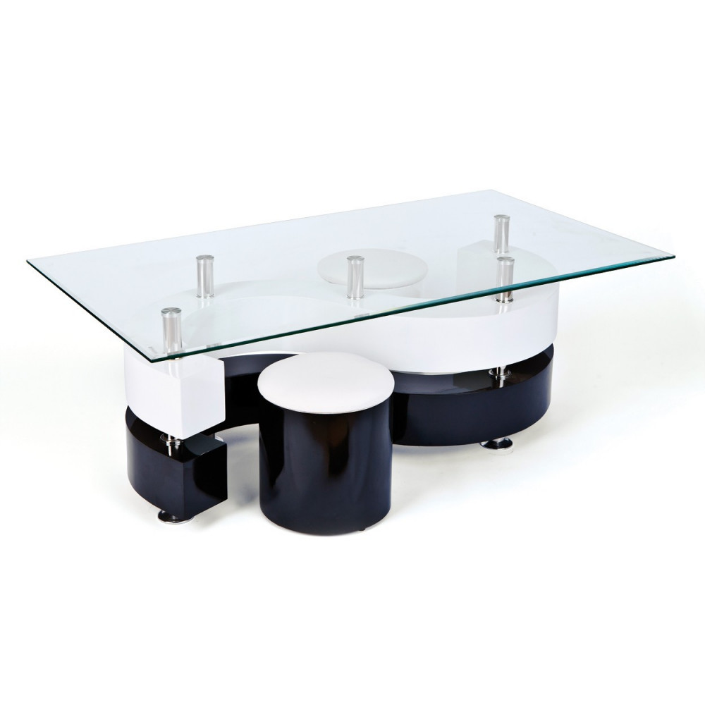Table basse design de salon saphira blanche et noire - Table basse en forme de s ...