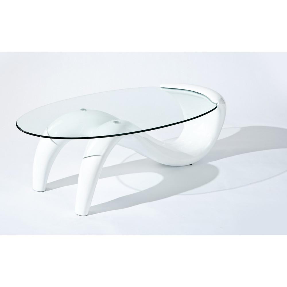 Table basse design de salon bella blanche - Table basse blanche ovale ...