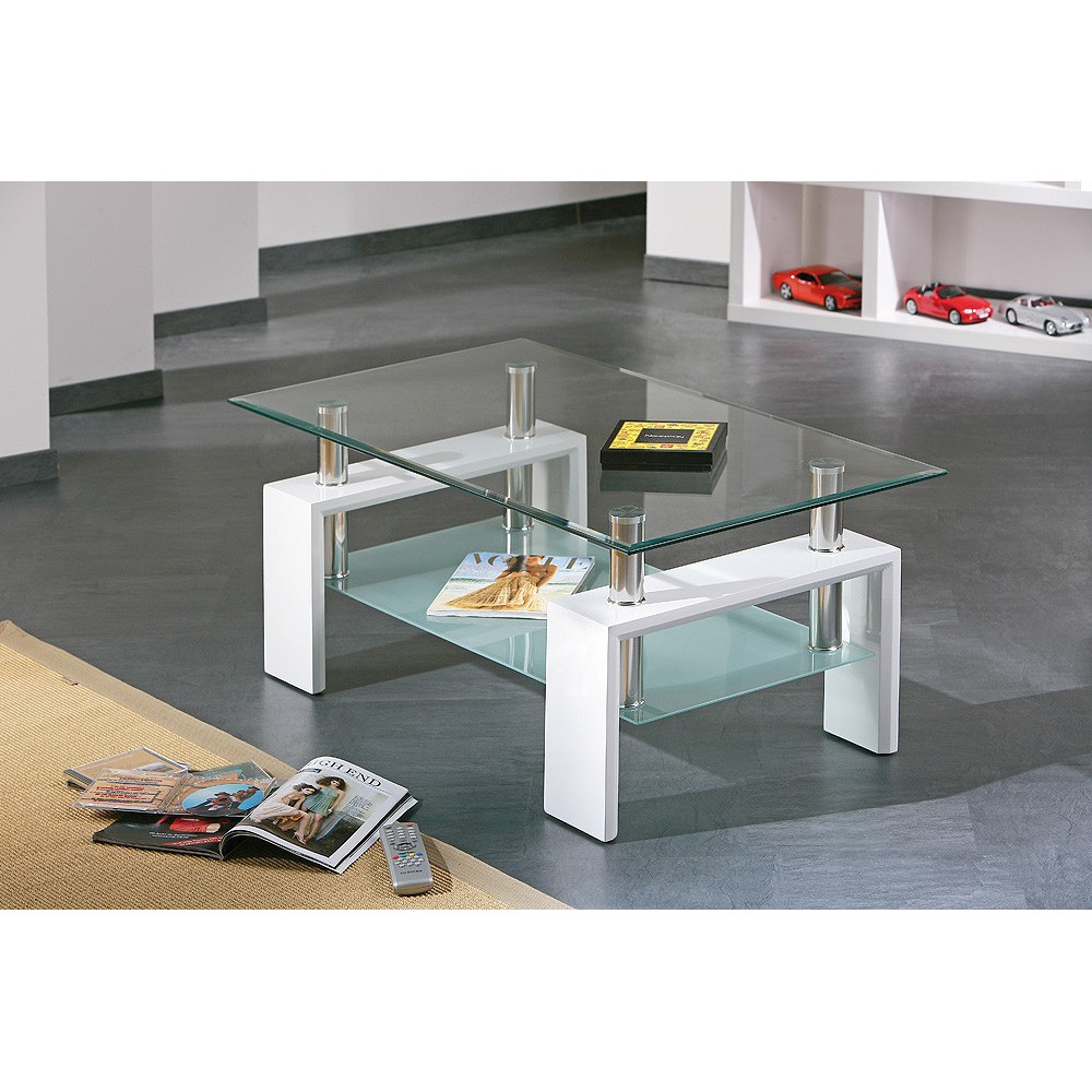 Table basse design de salon alva blanche - Table de salon rectangulaire ...