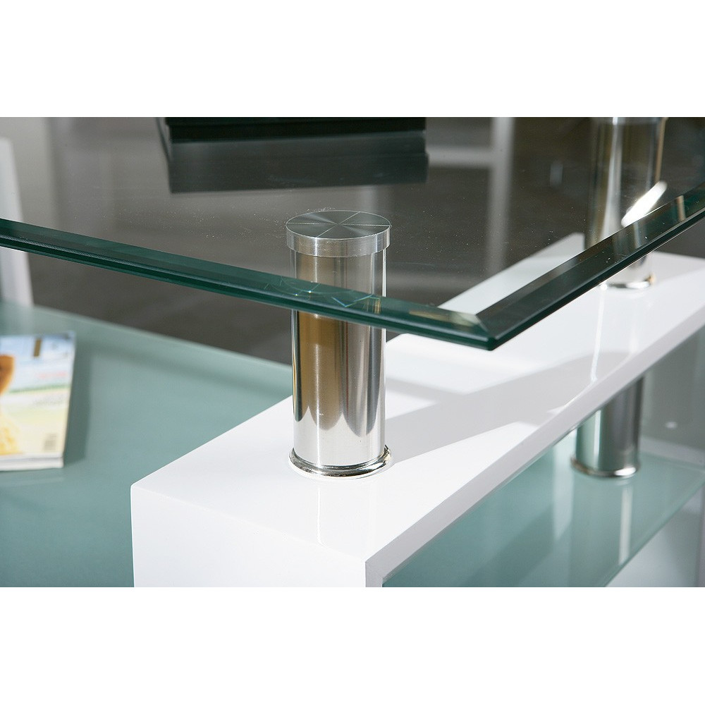 Table basse design de salon alva blanche - Tables basses blanches ...