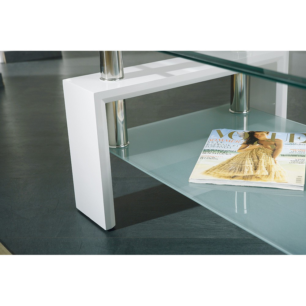 Table basse design de salon alva blanche - Table basse design blanche ...