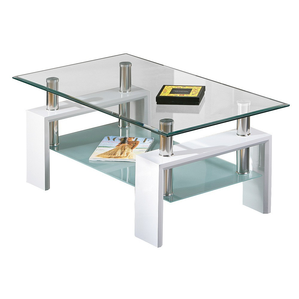 Table basse design de salon alva blanche - Table basse de salon blanche ...
