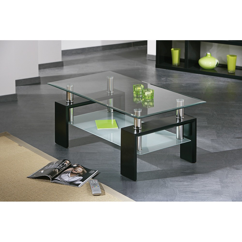 Table basse design de salon dana noire - Table moderne en verre ...
