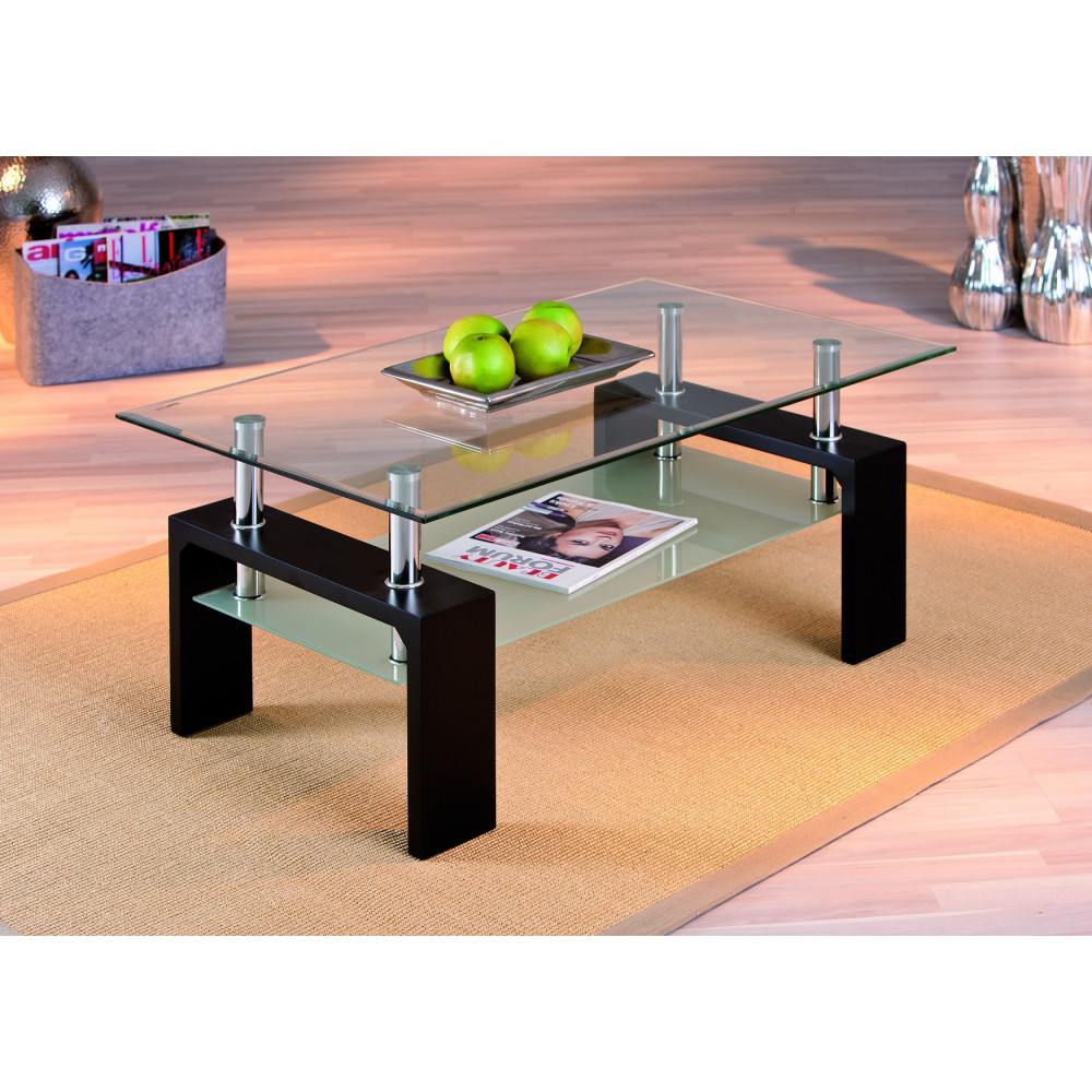 Table basse design de salon dana noire - Table basse noire design ...