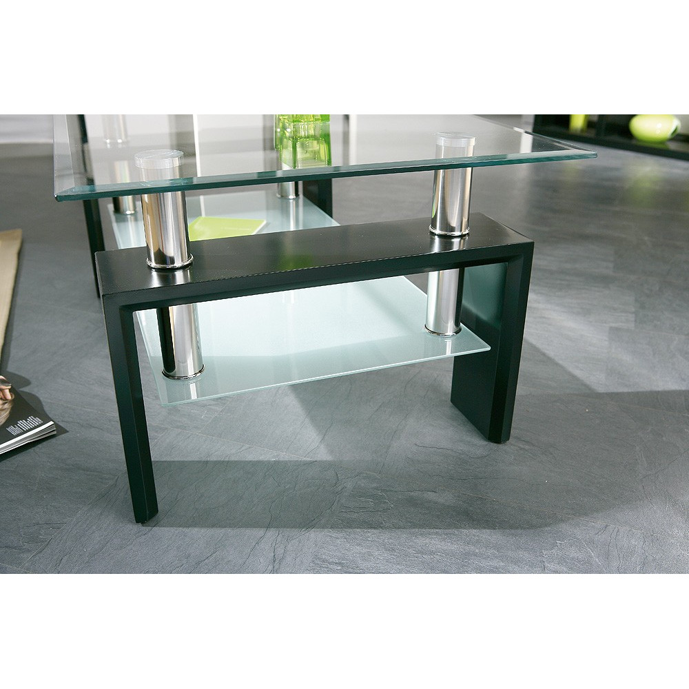 Table basse design open - Table de salon noire ...