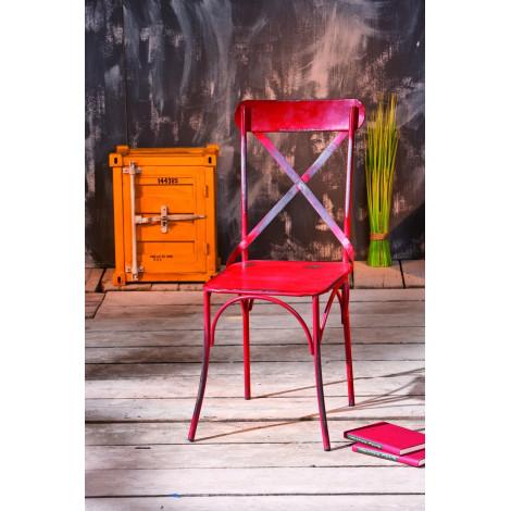 Lot de 2 Chaises vintage BISTRO Rouge Vieilli