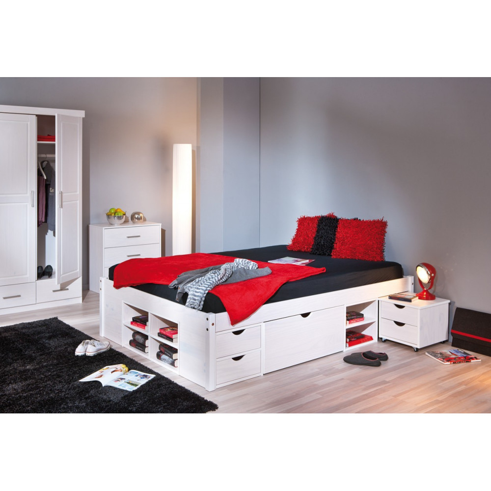lit meuble till 180x200 pin massif blanc. Black Bedroom Furniture Sets. Home Design Ideas